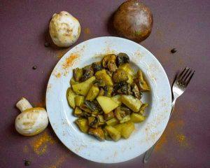 Μανιτάρια πορτομπέλο στο φούρνο με πατάτες